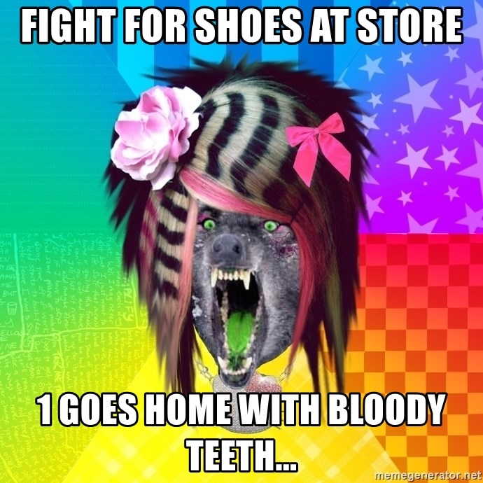 Insanity Scene Wolf - Fight for shoes at store 1 goes home with bloody teeth...