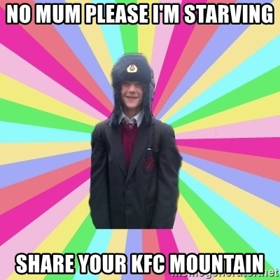 gayMunday - No mum please I'm starving Share your KFC mountain