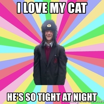 gayMunday - I love my cat He's so tight at night