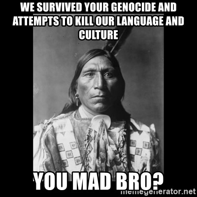 Native american - We survived your Genocide and attempts to kill our Language and Culture You Mad Bro?