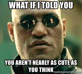 What if I told you / Matrix Morpheus - WHAT IF I TOLD YOU you aren't nearly as cute as you think