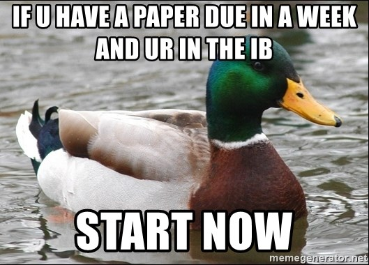 Actual Advice Mallard 1 - if u have a paper due in a week and ur in the ib start now