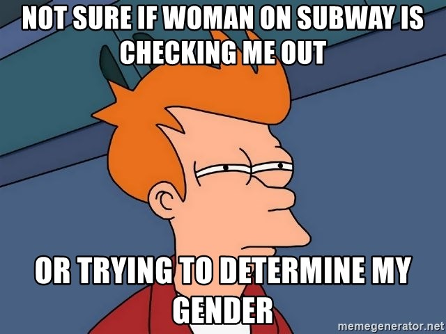 Futurama Fry - not sure if woman on subway is checking me out or trying to determine my gender