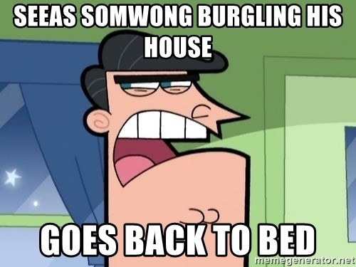i blame dinkleberg - seeas somwong burgling his house  goes back to bed