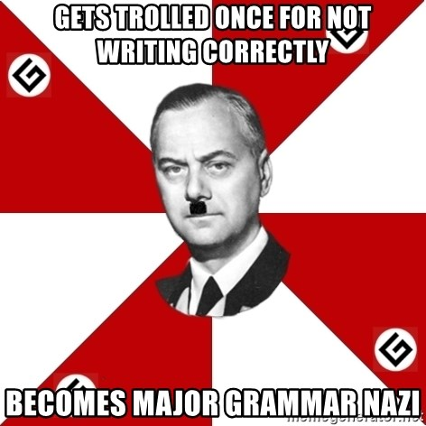 TheGrammarNazi - Gets trolled once for not writing correctly becomes major grammar nazi