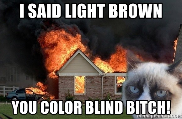 grumpy cat 8 - I said light brown you color blind bitch!