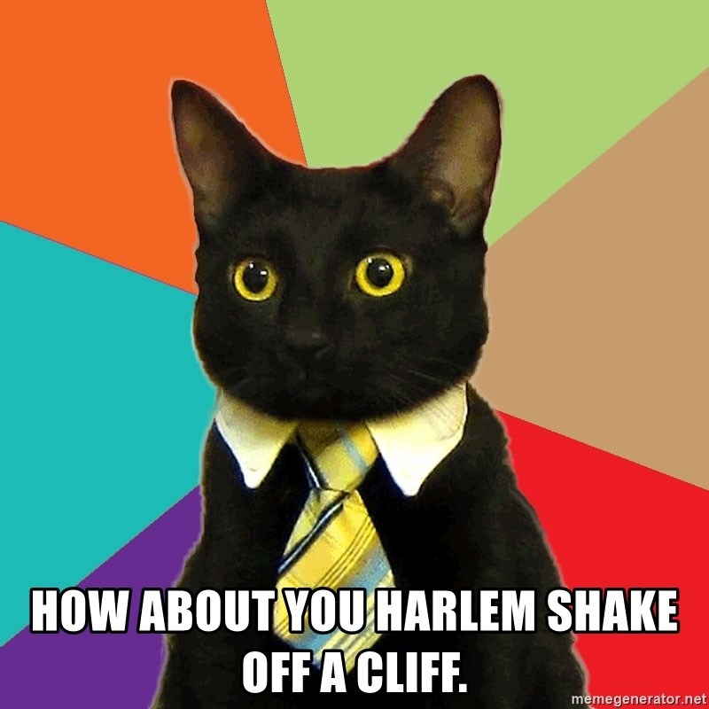 Business Cat -  HOW ABOUT YOU HARLEM SHAKE OFF A CLIFF.