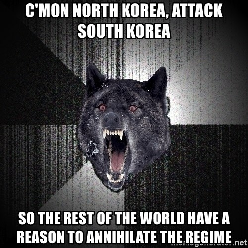 flniuydl - C'mon north korea, attack south korea so the rest of the world have a reason to annihilate the regime