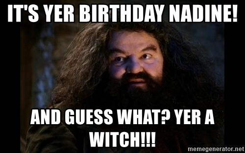 Yer A Wizard Harry Hagrid - It's YER birthday nadine! and guess what? yer a witch!!!