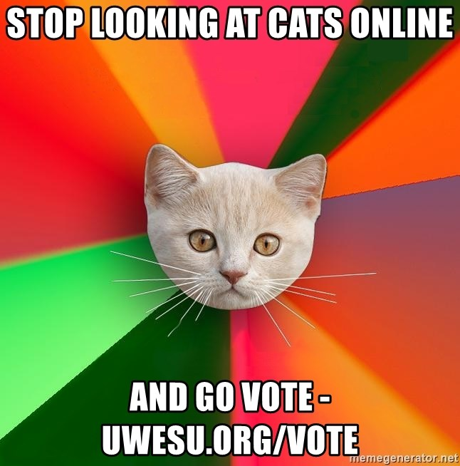 Advice Cat - stop looking at cats online and go vote - uwesu.org/vote