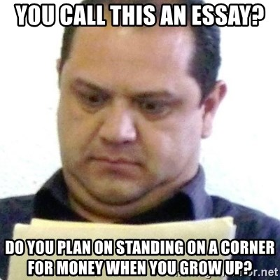 dubious history teacher - you call this an essay? do you plan on standing on a corner for money when you grow up?