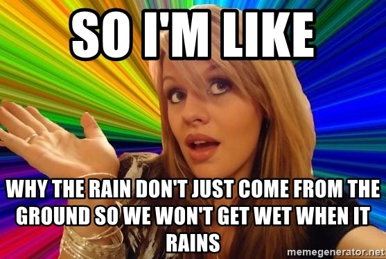 Dumb Blonde - SO I'M LIKE WHY THE RAIN DON'T JUST COME FROM THE GROUND SO WE WON'T GET WET WHEN IT RAINS