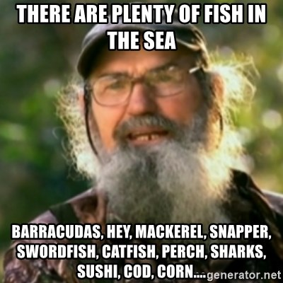 There are plenty of fish in the sea barracudas hey for Plenty of fish meme