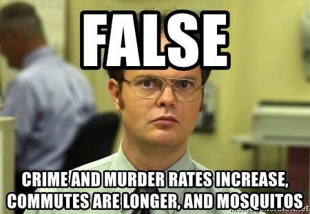 False guy - FALSE Crime and murder rates increase, commutes are longer, and mosquitos
