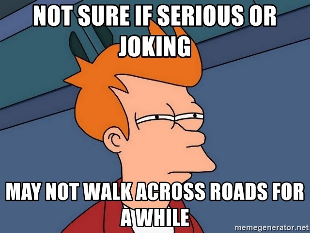 Futurama Fry - Not sure if serious or joking may not walk across roads for a while