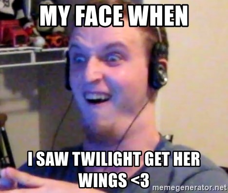 Brony Mike - my face when i saw twilight get her wings <3