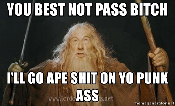 You shall not pass - YOU BEST NOT PASS BITCH  I'LL GO APE SHIT ON YO PUNK ASS