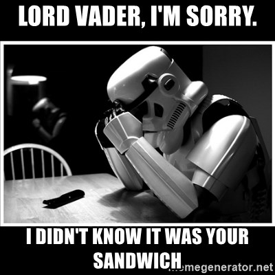 sad stormtrooper - lord Vader, I'm sorry. i didn't know it was your sandwich