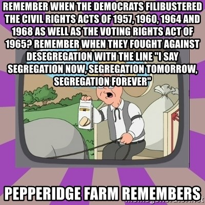 "Pepperidge Farm Remembers FG - Remember when the Democrats filibustered the Civil Rights Acts of 1957, 1960, 1964 and 1968 as well as the Voting Rights act of 1965? Remember when they fought against desegregation with the line ""I say segregation now, segregation tomorrow, segregation forever"" Pepperidge Farm Remembers"