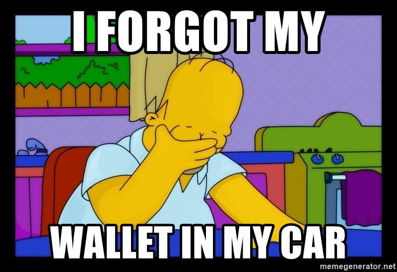 Homer Facepalm - i forgot my wallet in my car
