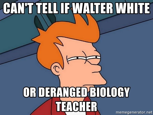 Futurama Fry - Can't Tell if walter white or deranged biology teacher
