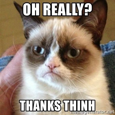 Grumpy Cat  - oh really? Thanks THinh
