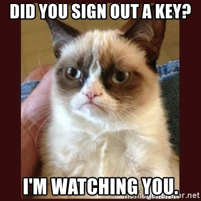 Tard the Grumpy Cat - did you sign out a key? i'm watching you.