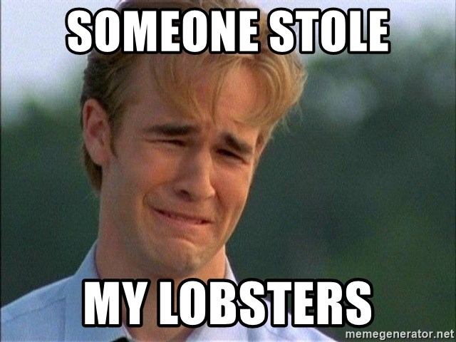 Crying Man - someone stole  my lobsters