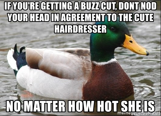 Actual Advice Mallard 1 - iF YOU'RE GETTING A BUZZ CUT, dONT NOD YOUR HEAD IN AGREEMENT TO THE CUTE HAIRDRESSER  NO MATTER HOW HOT SHE IS