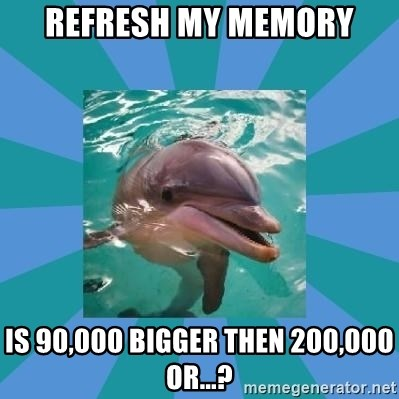 Dyscalculic Dolphin - Refresh my memory Is 90,000 bigger then 200,000 or...?