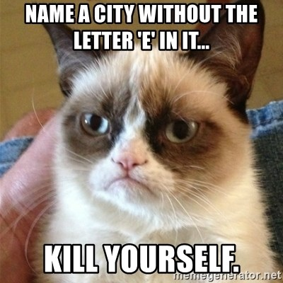 Grumpy Cat  - Name a City without the letter 'E' In It... Kill yourself.