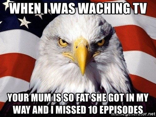 American Pride Eagle - when I WAS WACHING TV  YOUR MUM IS SO FAT SHE GOT IN MY WAY AND I MISSED 10 EPPISODES