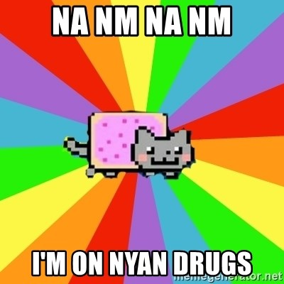 nyan nyan nyan cat - NA NM NA NM I'M ON NYAN DRUGS