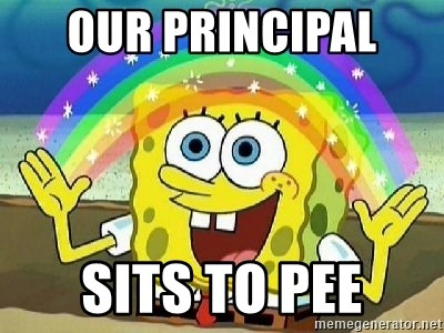Imagination - Our principal  Sits to pee