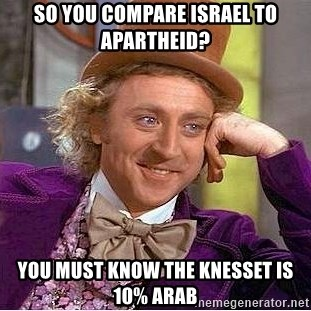Willy Wonka - So you compare israel to apartheid? you must know the knesset is 10% arab