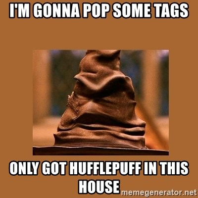 Music Sorting Hat - I'M GONNA POP SOME TAGS ONLY GOT HUFFLEPUFF IN THIS HOUSE