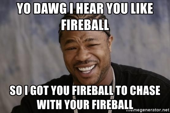 xzibit-yo-dawg - Yo dawg I hear you like fireball  SO i got you fireball to chase with your fireball