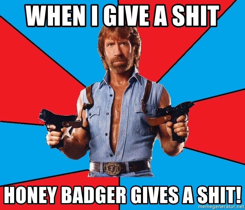 Chuck Norris  - when i give a shit honey badger gives a shit!