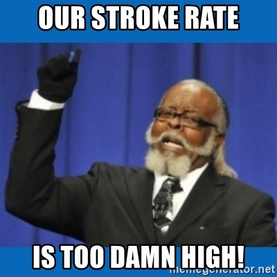 Too damn high - Our stroke rate is too damn high!