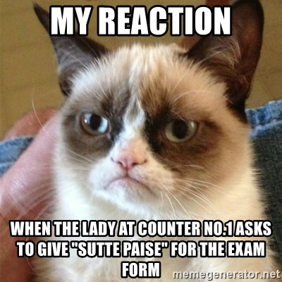"""Grumpy Cat  - My reaction when the lady at counter no.1 asks to give """"sutte paise"""" for the exam form"""