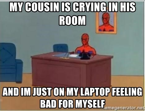 Spiderman Desk - my cousin is crying in his room and im just on my laptop feeling bad for myself