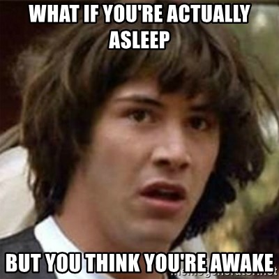 what if meme - what if you're actually asleep but you think you're awake