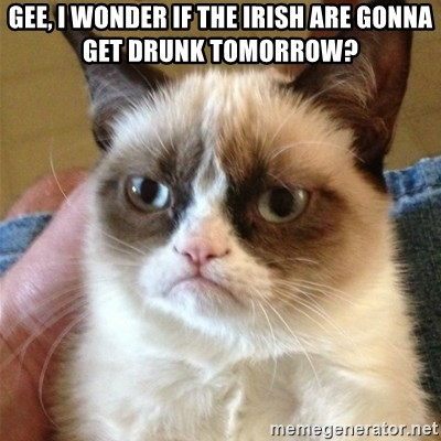 Grumpy Cat  - Gee, I wonder if the Irish are gonna get drunk tomorrow?