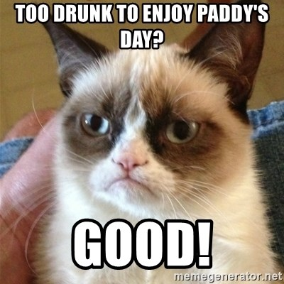 Grumpy Cat  - Too drunk to enjoy paddy's day? good!