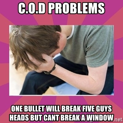 First World Gamer Problems - C.O.D PROBLEMS ONE BULLET WILL BREAK FIVE GUYS HEADS BUT CANT BREAK A WINDOW