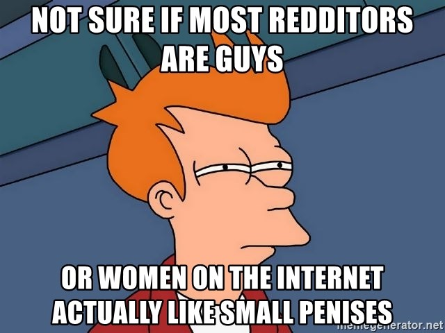 Futurama Fry - Not sure if MOst Redditors are guys or women on the internet actually like small penises