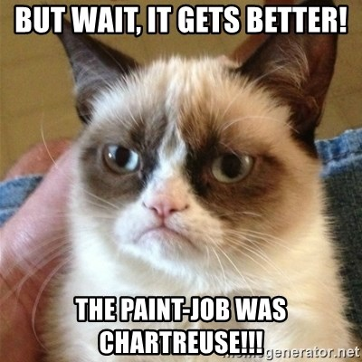 Grumpy Cat  - but wait, it gets better! the paint-job was chartreuse!!!