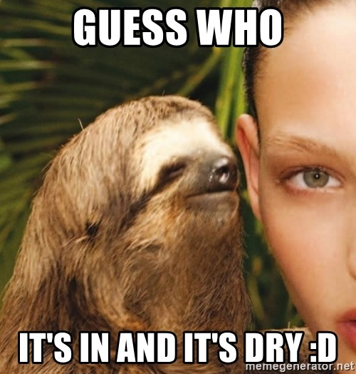 The Rape Sloth - guess who it's in and it's dry :D