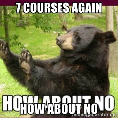 How about no bear - 7 courses agaın how about no