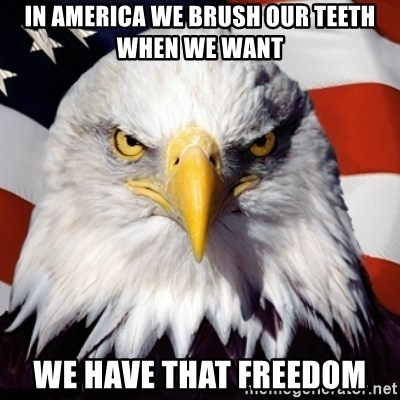 Freedom Eagle  - In america we brush our teeth when we want we have that freedom